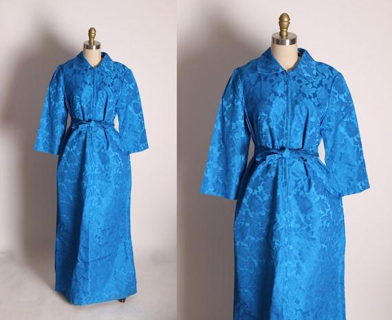 1960s Blue Brocade 3/4 Length Sleeve Full Length Formal Zip Up Front Belted Dress -XL