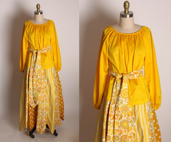 1970s Golden Yellow Long Sleeve Blouse with Golden Yellow Floral Elastic Waist Boho Pointed Hem Skirt Two Piece Outfit by Greenecastle -S