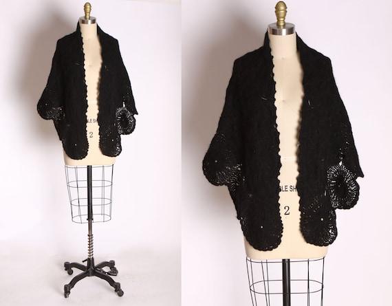 1940s 1950s Black Yarn Knit Circular Spider Web Sh