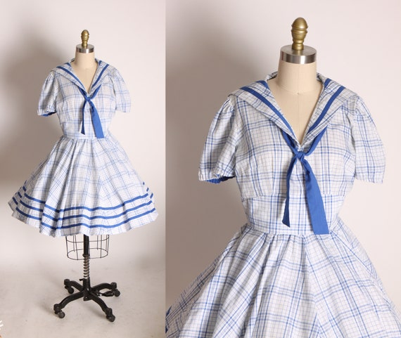 Early 1960s Blue and White Short Sleeve Ruffle Plaid Sailor Style Square Dance Western Dress -S