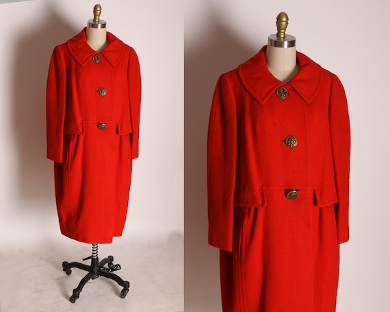 1950s Red Long Sleeve Anchor Button Down Front Outer Pockets Coat by Ben Gershel by Robert Knox -XL