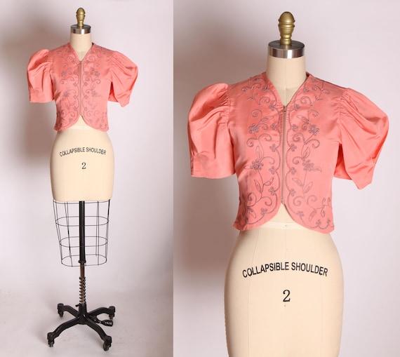 1940s Light Pink Soutache Trim Short Sleeve Zip Up