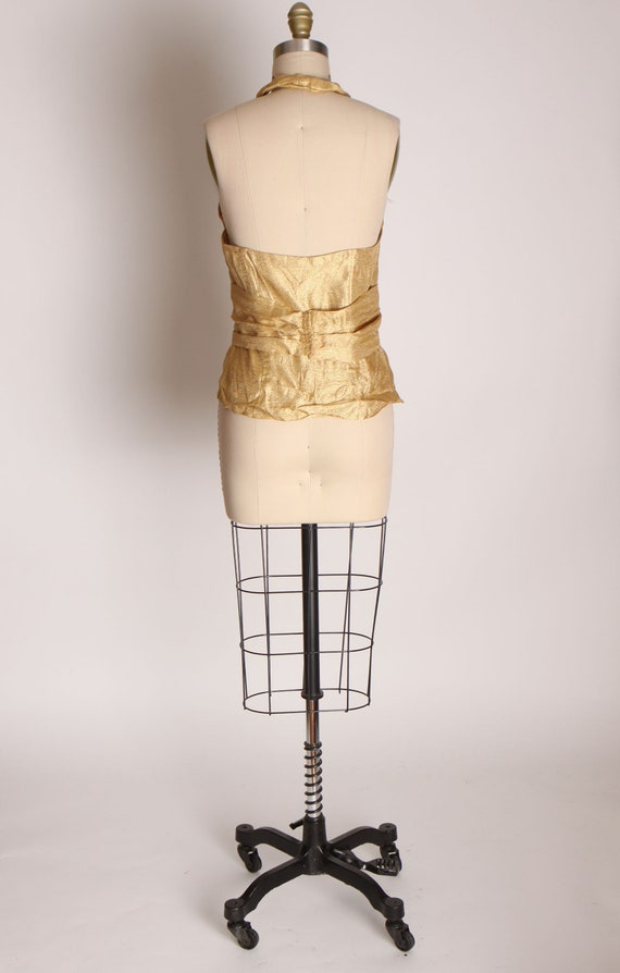 1940s 1950s Gold Lame Halter Top Shirt Blouse -M - image 7