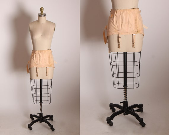 Early 1940s Light Pink Lace Up Back Attached Garter Straps Corset Waist Cincher by Isle Foundations -S