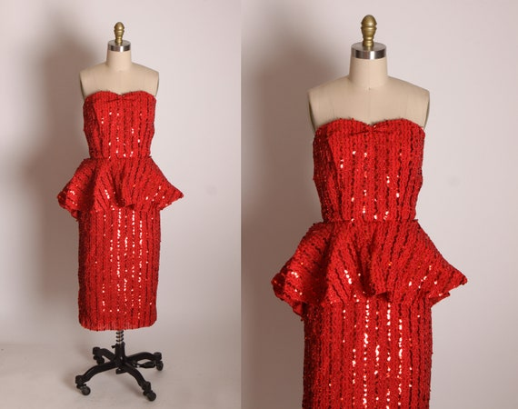 Late 1970s Red Sequin Strapless Knee Length Formal Prom Pageant Peplum Waist Dress -XS