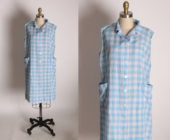 1950s Blue and Off White Pinkish Hue Gingham Sleeveless Button Up Pocketed Dress -L