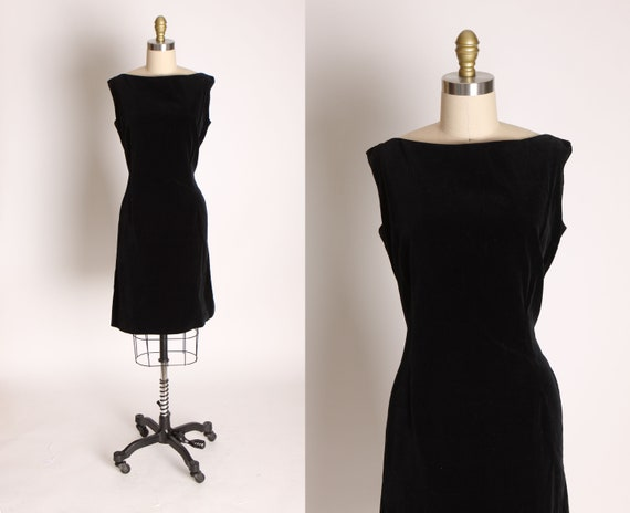 Early 1960s Black Velvet Sleeveless Cocktail Dress