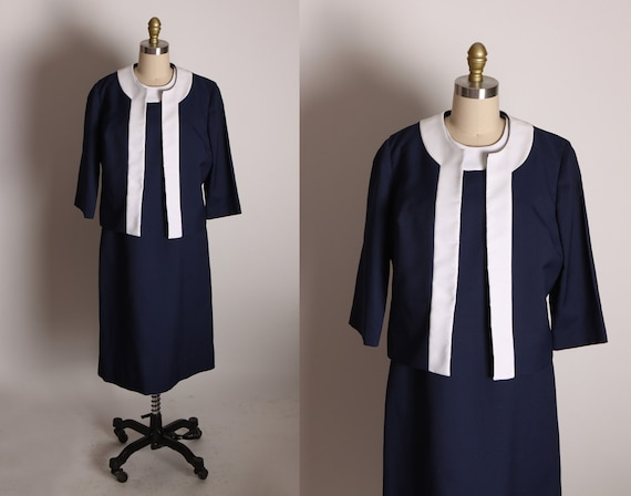 Late 1960s Early 1970s Navy Blue and White Sleeveless Shift Dress with Matching Open Front Jacket Two Piece Outfit by Jean Lang Original -L