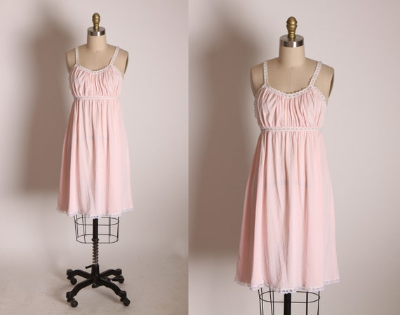 1960s Pink and White Gathered Bodice Thin Strap Flared Skirt Lingerie Night Gown by Venus -M