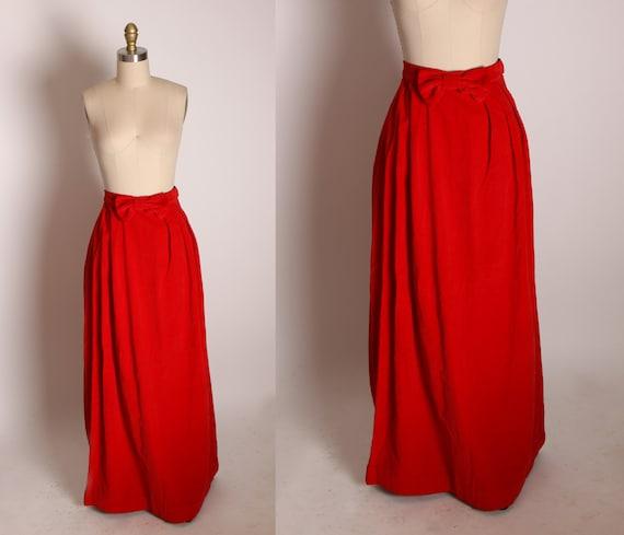 1960s Red Velvet High Waisted Bow Detail Ankle Length Skirt -XS