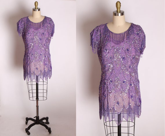 1980s Purple Sequin and Beaded Fringe Flapper Styl