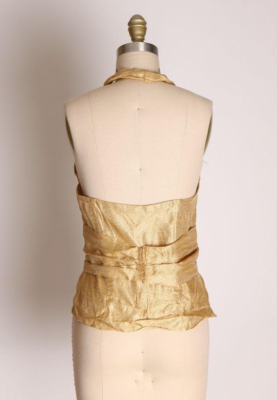 1940s 1950s Gold Lame Halter Top Shirt Blouse -M - image 8