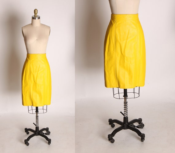 Late 1970s Early 1980s Bright Yellow Leather Penci