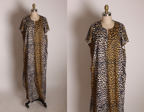 1970s Brown and Black Leopard Print Short Sleeve Night Gown -1XL
