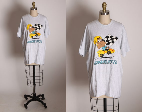 1990s Gray Novelty Racing Jim Beam Decanter Fox Charlotte Single Stitch T Shirt by Fruit of the Loom -M