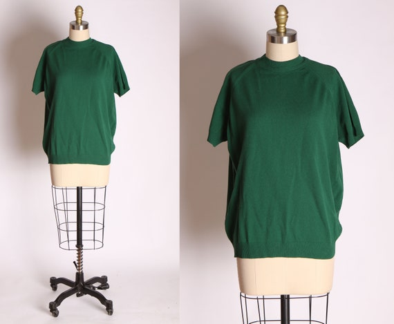 1960s Forest Green Textured Nylon Short Sleeve Blo