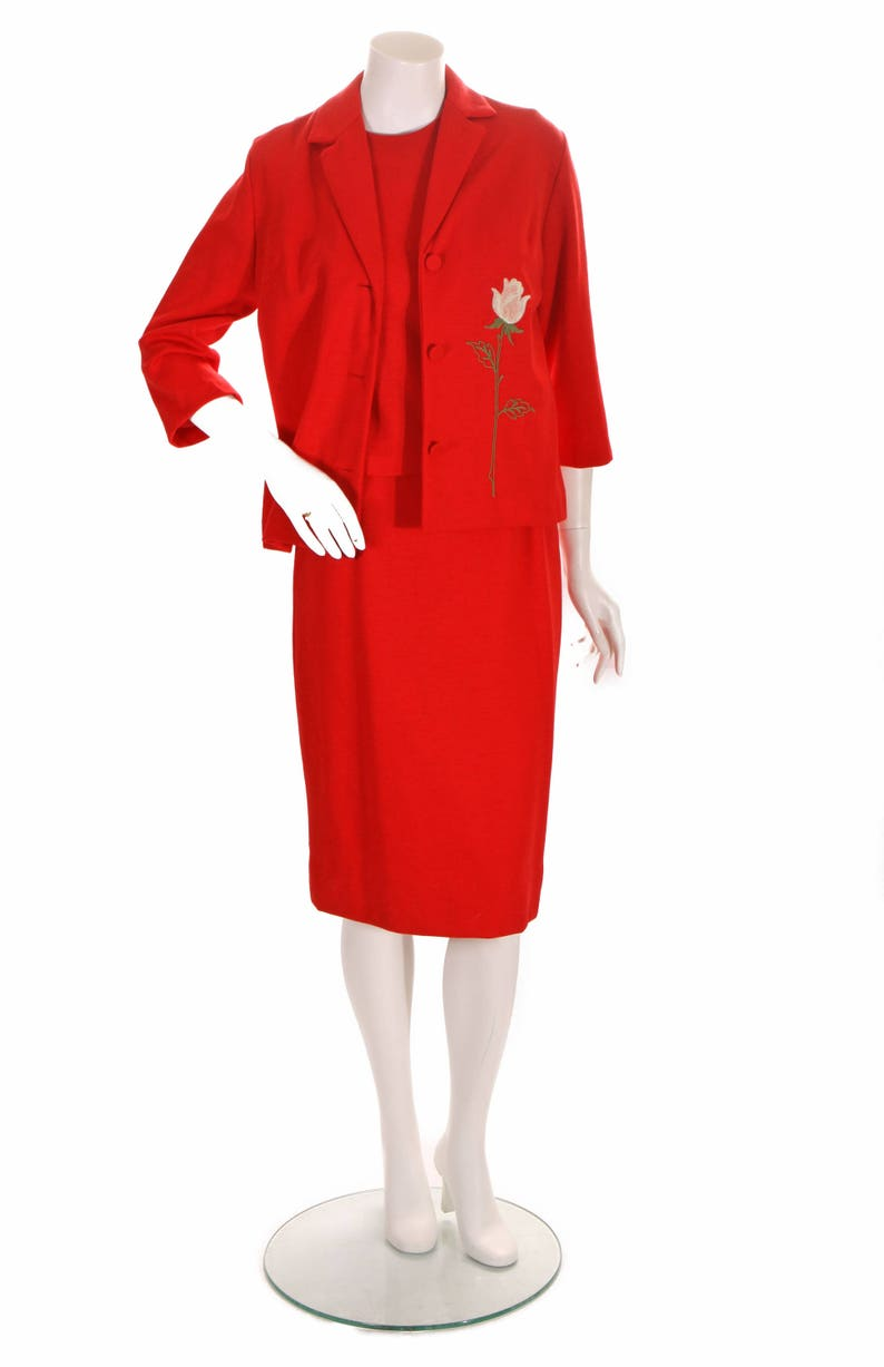S Late 1950s Cherry Red Embroidered Pink Rose Matching Jacket and Sleeveless Blouse and Pencil Skirt Three Piece Outfit by Travers Town