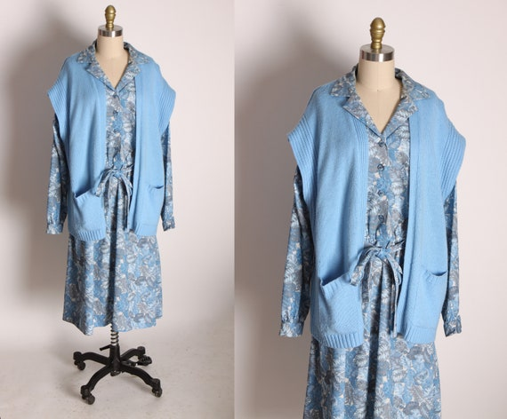 1970s Blue and White Novelty Foliage Leaf House Plant Print Long Sleeve Dress with Matching Blue Sweater by Sheridan Square -XL