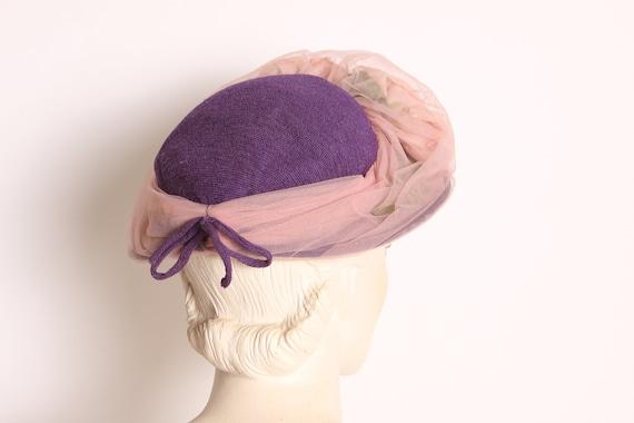 1950s Purple Pink Flower Sheer Overlay Formal Hat - image 4
