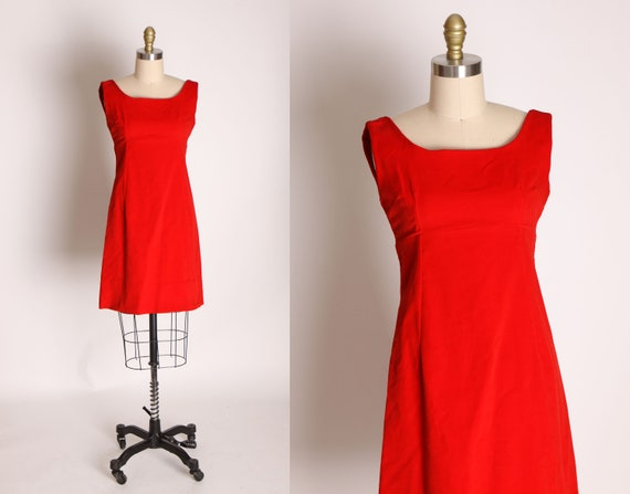 Early 1960s Red Velvet Sleeveless Mini Dress -XXS