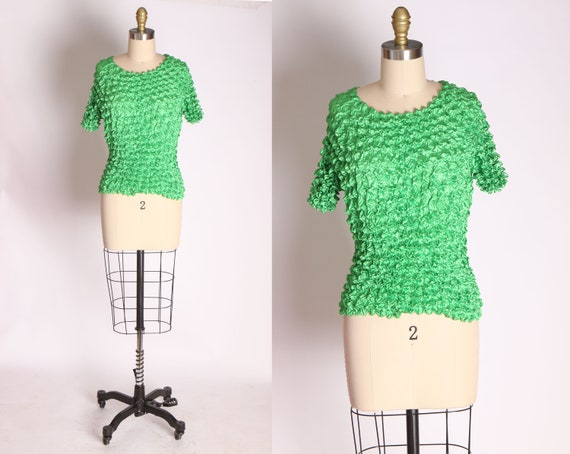 1990s Micropleat Bright Green Crinkle Popcorn Top