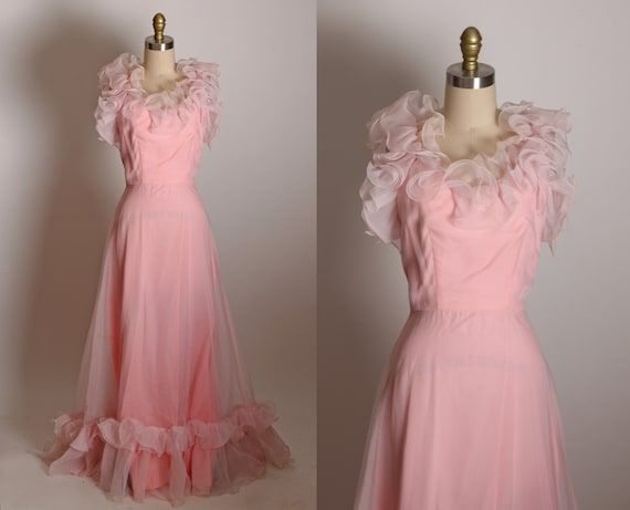 1970s Pink Wide Strap Ruffle Collar Full Length Ruffle Hem Formal Bridesmaid Prom Dress -XS
