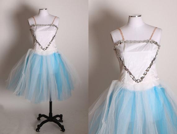 1950s Blue and White Silver Sequin Detail Elastic Strap Romper Ballerina Showgirl Burlesque Costume