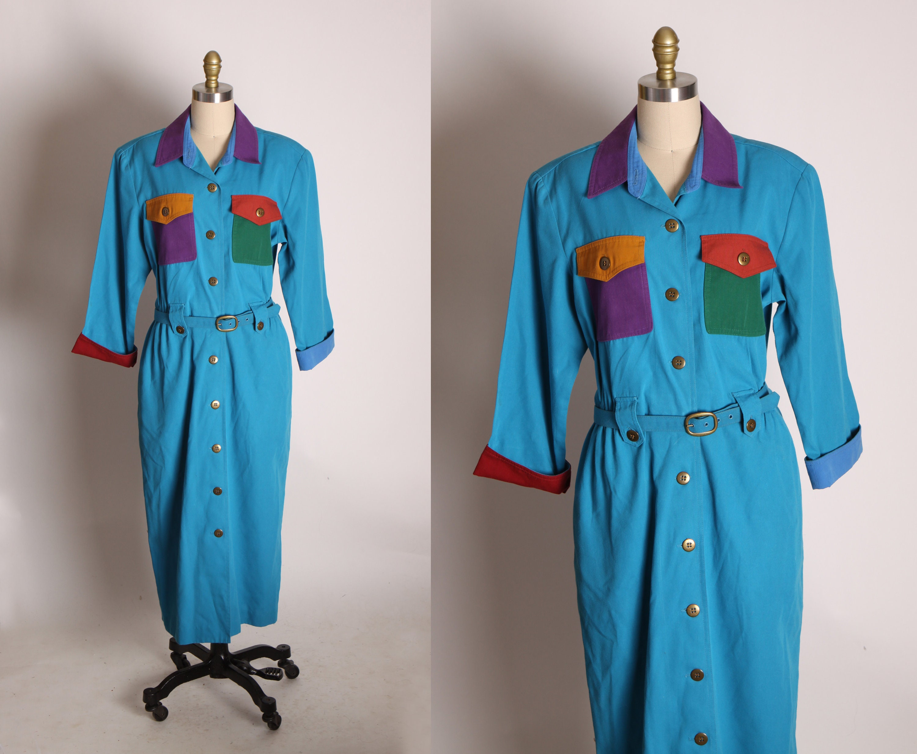 80s Dresses | Casual to Party Dresses 1980S Blue, Red, Green, Orange  Purple 34 Length Sleeve Button Up Color Block Belted Dress By Sandra Ow-Wing For N.r.1 -1xl $33.00 AT vintagedancer.com