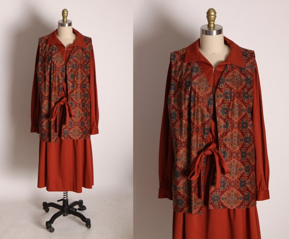 1970s Rust Red Brown Long Sleeve Pullover Dress with Matching Geometric Long Vest -XL