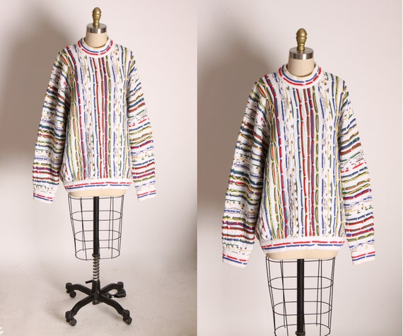 1980s White Multi-Colored Abstract Knit Long Sleeved Funky Sweater by Coogi -L
