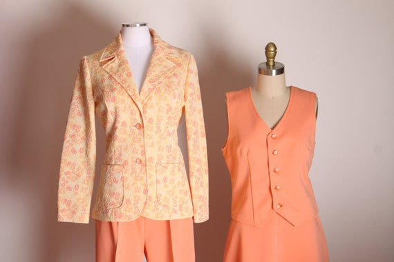 1970s Peach Pink Orange Double Knit Floral Jacket, High Waisted Pants, Skirt and Vest Four Piece Womens Suit -M-L