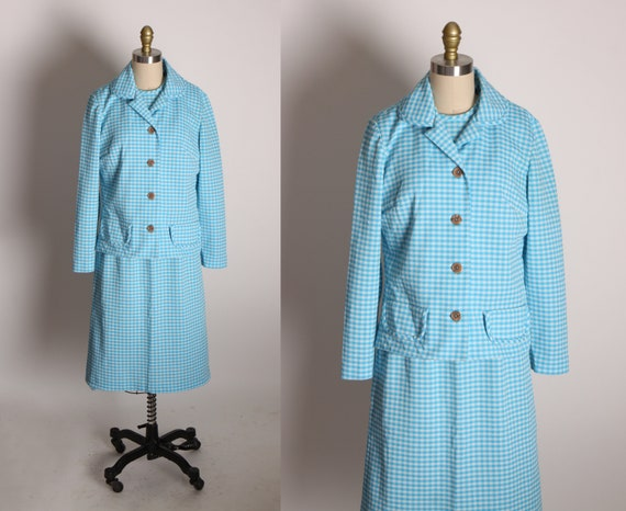 Late 1960s Early 1970s Blue and White Gingham Short Sleeve Belted Shift Dress with Matching Jacket Two Piece Outfit by Nelly Don -L