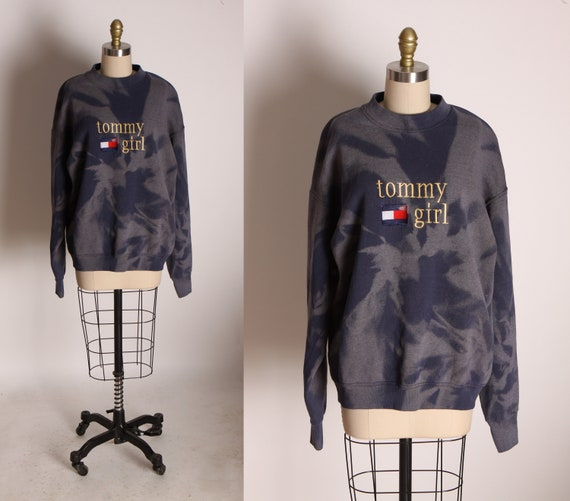 1990s Blue, Red and White Bleach Tie Dye Long Sleeve Tommy Hilfiger Tommy Girl Sweatshirt -L