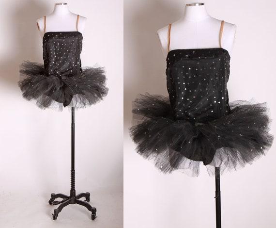 1940s 1950s Black Taffeta Sequin Ballet Ballerina