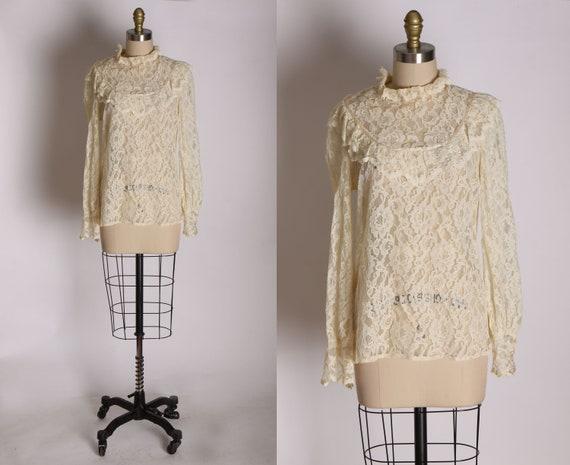 1970s Sheer Cream Off White Lace Ruffle Collar Lon