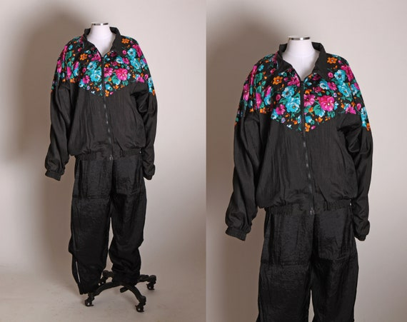 1990s Black, Blue, Pink and Orange Floral Long Sleeve Windbreaker Jacket with Matching Ankle Zipper Pants Two Piece Tracksuit by Shell Shock