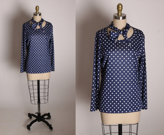 1970s Blue and White Polka Dot Long Sleeve Zipper Back Blouse with Matching Neck Scarf by Ship N' Shore -L