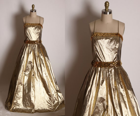 1970s Gold Lame Spaghetti Strap Full Length Gold Sequin Formal Prom Dress by JCPenney -M