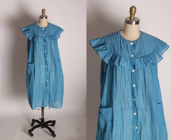1950s Blue Ruffle Collar Cap Sleeve Button Up Pocketed Night Gown House Dress Robe -XL