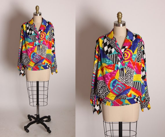 1980s Multi-Colored Abstract Geometric Assorted Swirl Color Block Pattern Long Sleeve Blouse by Three Flaggs -M-L
