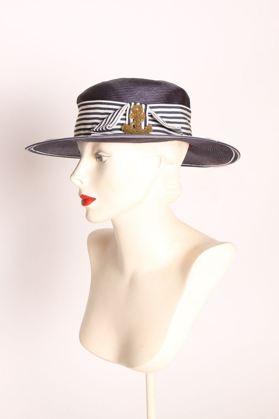 1940s 1950s Navy Blue and White Striped Gold Beade