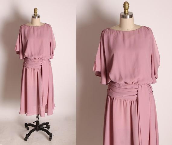 1970s Dusty Rose Pink Short Flutter Sleeve Draped Chiffon Formal Dress by Joy Stevens California -S