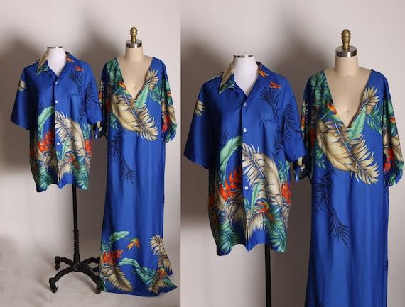 1970s Mens Blue Floral Button Up Hawaiian Shirt with Matching Hawaiian Dress Two Piece Honeymoon Set by Resort Line Hawaii -XL