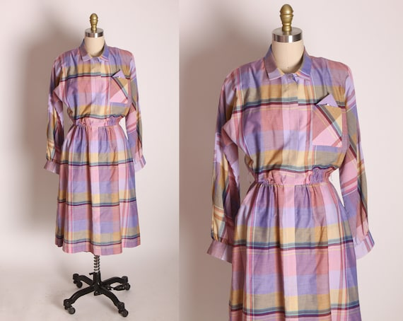 1970s Purple, Pink and Yellow Long Sleeve Plaid Fit and Flare Dress by Je Petites -M-XL