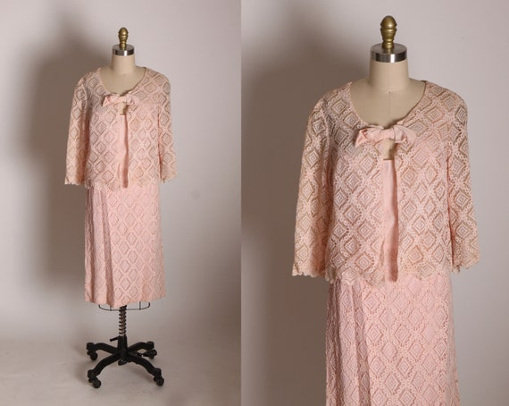 1960s Blush Pink See Through Diamond Shape Lace Slip Dres with Matching Over Jacket Two Piece Outfit Dress -L