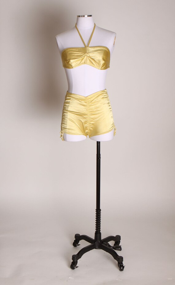 1940s Yellow Satin Stretch High Waisted Two Piece… - image 2