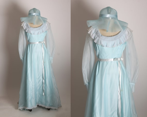 1970s Light Blue Sheer Organza Long Sleeve Full Length Bridesmaid Formal Dress with Matching Hat by Nadine -M