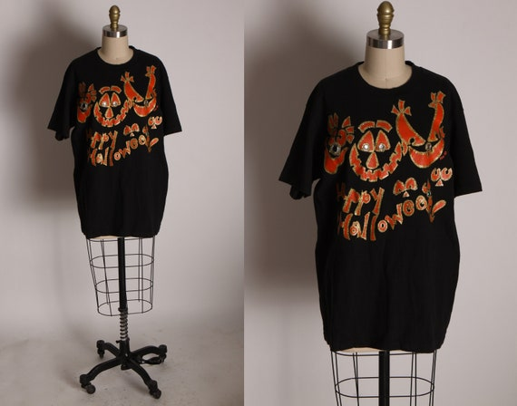 1990s Black and Orange Puffy Paint Glitter and Gemstone Happy Halloween Creepy Faces Single Stitch Graphic T Shirt by Anvil -L