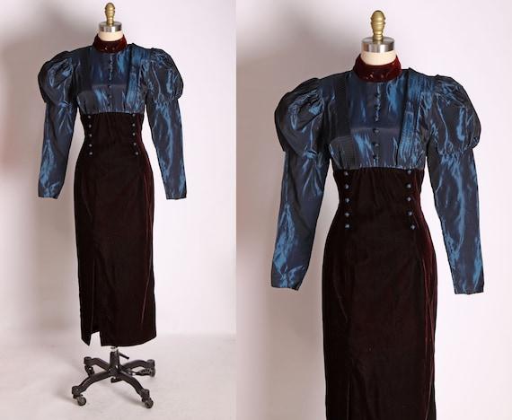 1980s Does Victorian Edwardian Style Blue Long Sle