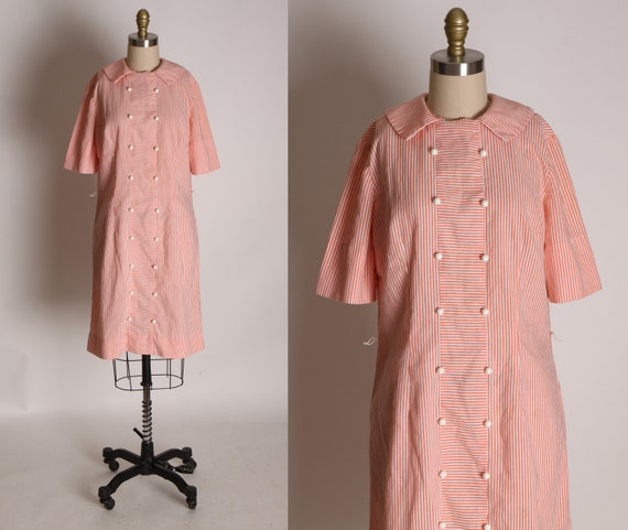 1960s Pink and White Striped Button Up Style Dress